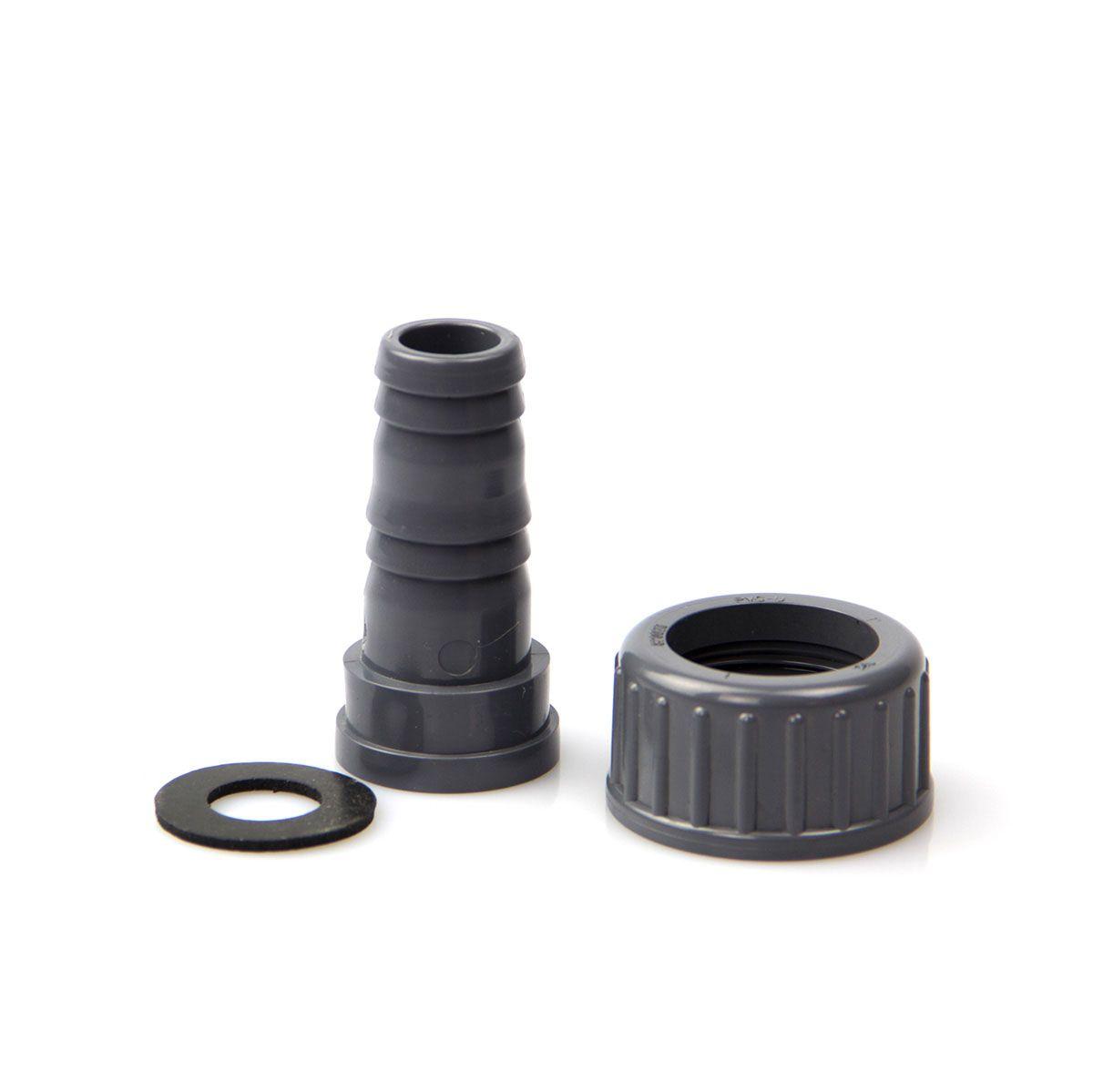 Schlauchtülle mit Überwurfmutter, aus PVC, grau, 3/4' IG, d 16 mm