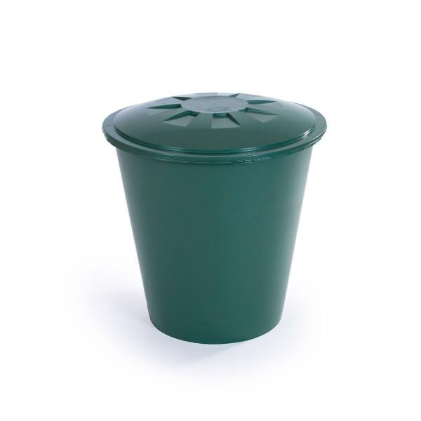 Regentonne komplett, aus PP, grün, rund, 210 l, 770 x 770 x 800 mm
