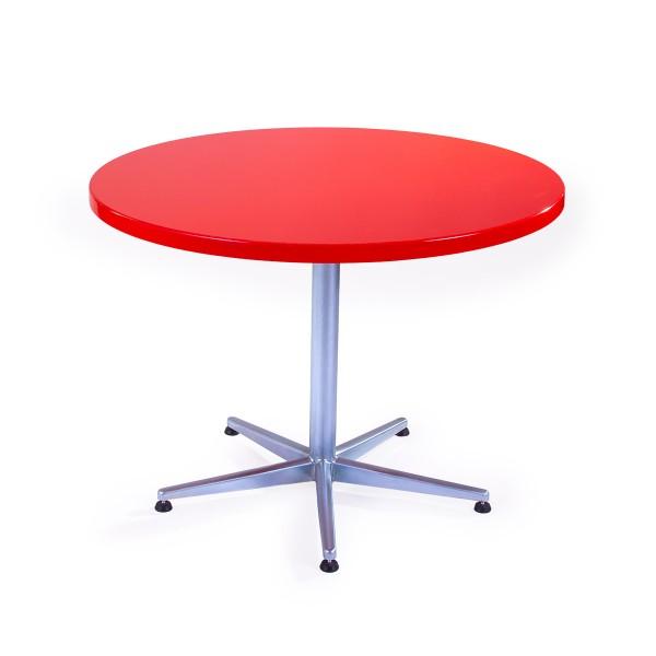 GFK Tisch verkehrsrot, glanz, Untergestell galvanisch, 5-Stern Basic, D 100 x 3.5 cm, H 73 cm
