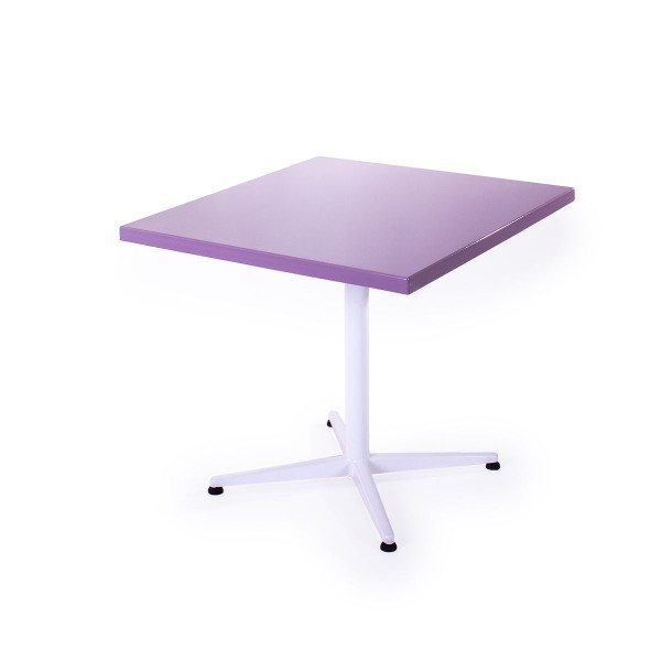 GFK Tisch pastellviolett, glanz, Untergestell weiss, 4-Stern Basic, 80 x 80 x 3.5 cm, H 73 cm