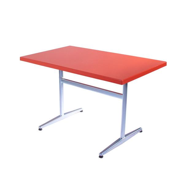 GFK Tisch orange, glanz, Untergestell galvanisch, T-Gestell Basic, 120 x 70 x 3.5 cm, H 73 cm
