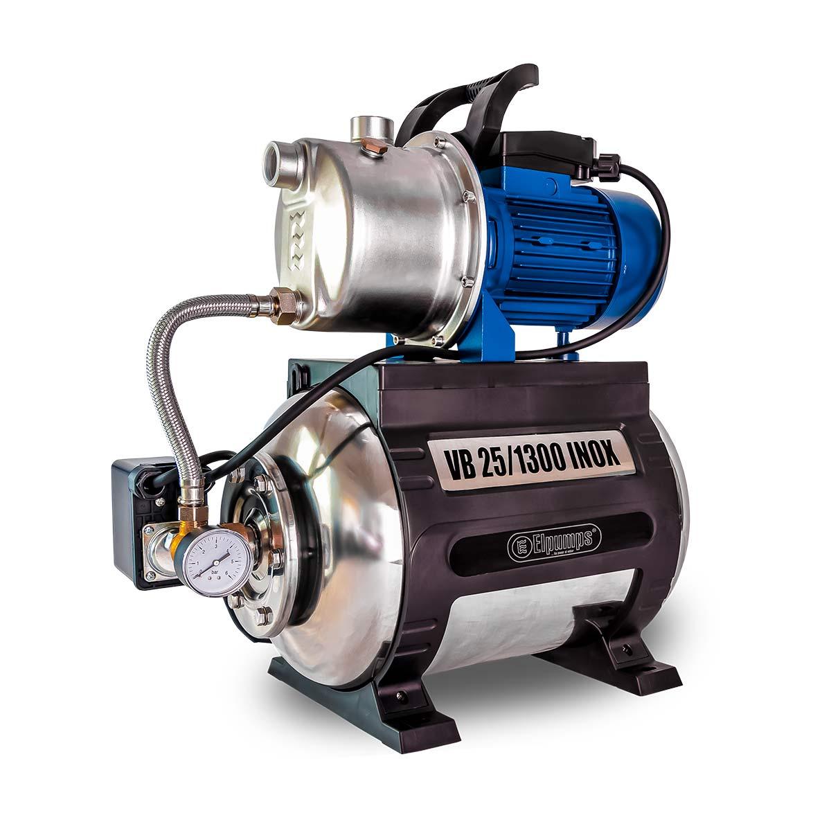 Hauswasserwerk VB 25/1300 INOX, H max 48.0 m, Q max 5400 l/h, 1.3 kW, 525 x 295 x 590 mm, 1' IG, 230 V