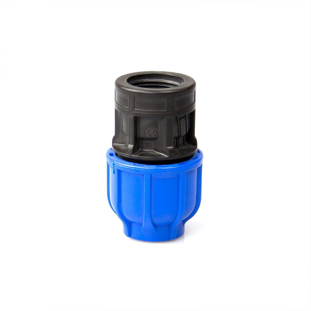 Muffenkupplung IG, aus PP, blau-schwarz, d 20 mm, 3/4' IG, PN 16