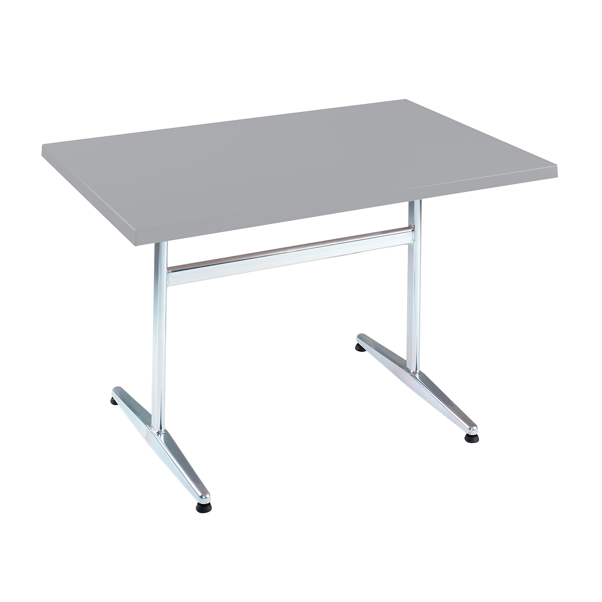 GFK Tisch silber, glanz, Untergestell galvanisch, T-Gestell Basic, 120 x 70 x 3.5 cm, H 73 cm
