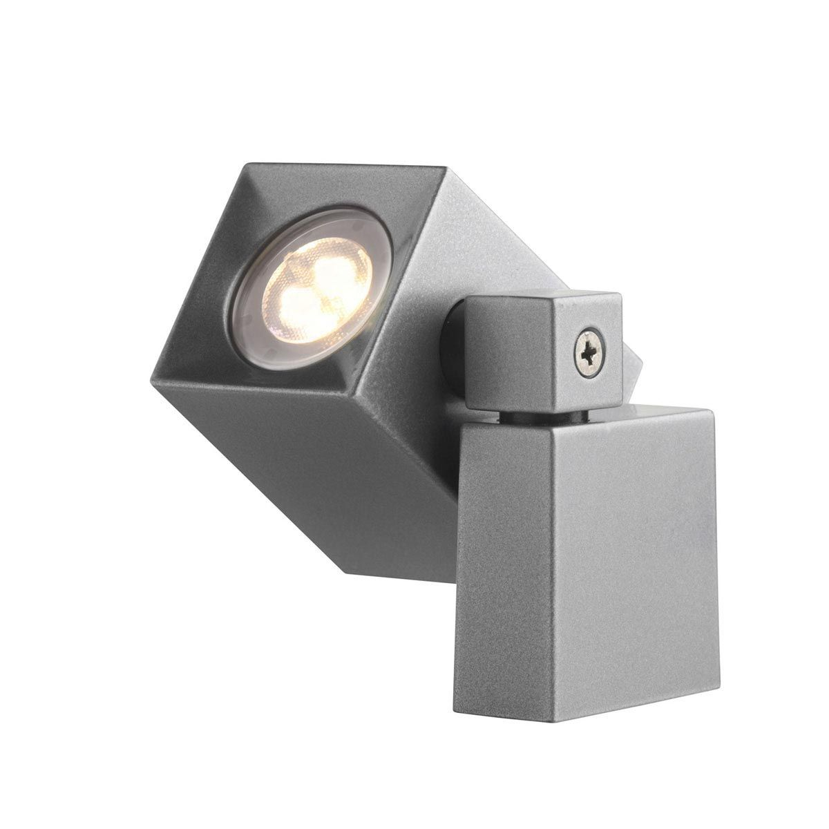 Wandleuchte Quartz, Aluminium, anthrazit, 2 W LED, warmweiss, 12 V, 105 x 50 x 85 mm
