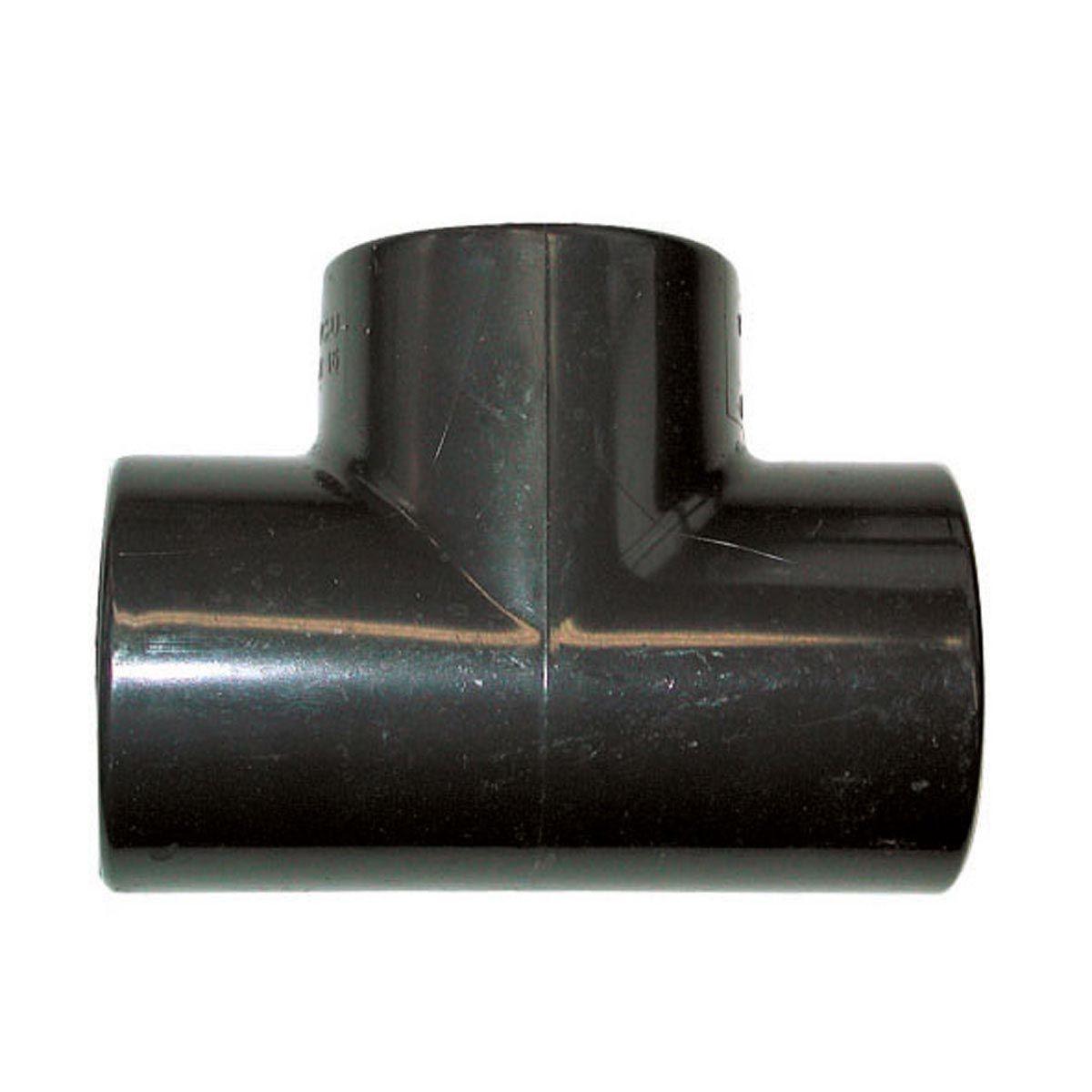 T-Stück 90° zum Kleben, aus PVC, grau, d 16 mm, PN 16
