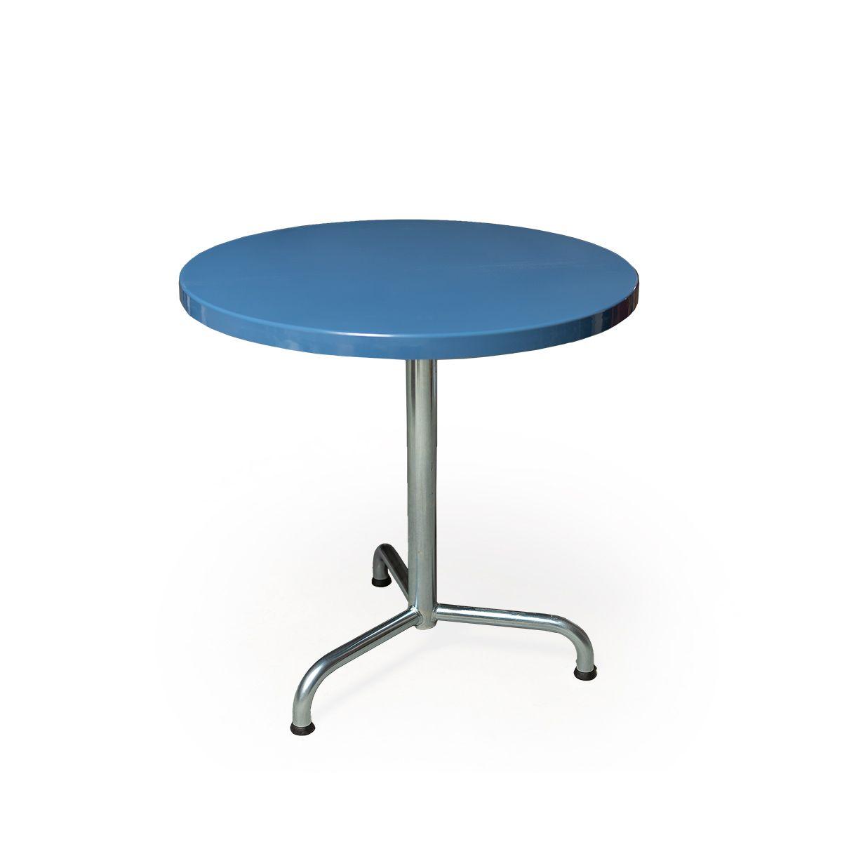 GFK Tisch fernblau, glanz, Untergestell galvanisch, 3-Stern Retro, D 70 x 3.5 cm, H 73 cm