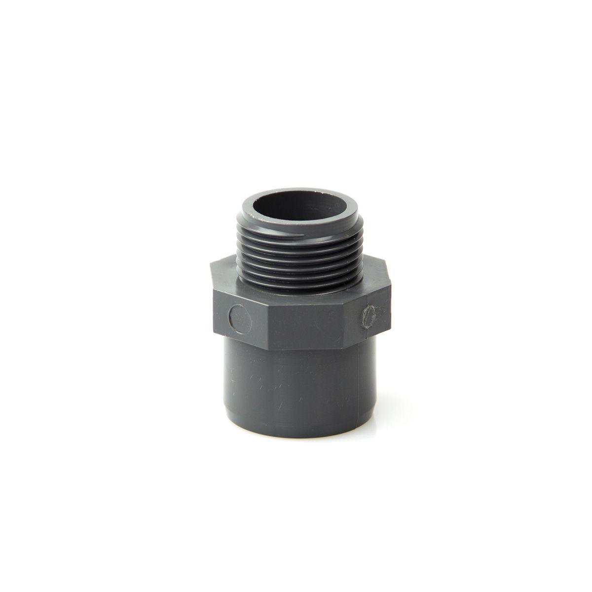Reduktion Kleben/Gewinde AG, aus PVC, grau, d 16 x D 20 mm, 3/8' AG, PN 16