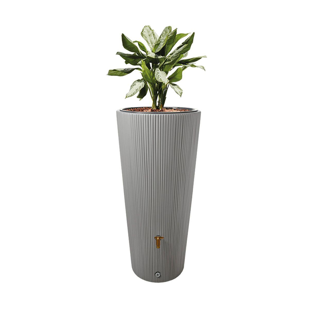 Regenspeicher Vaso, aus PE-HD, zinkgrau, 220 l, 580 x 580 x 1200 mm