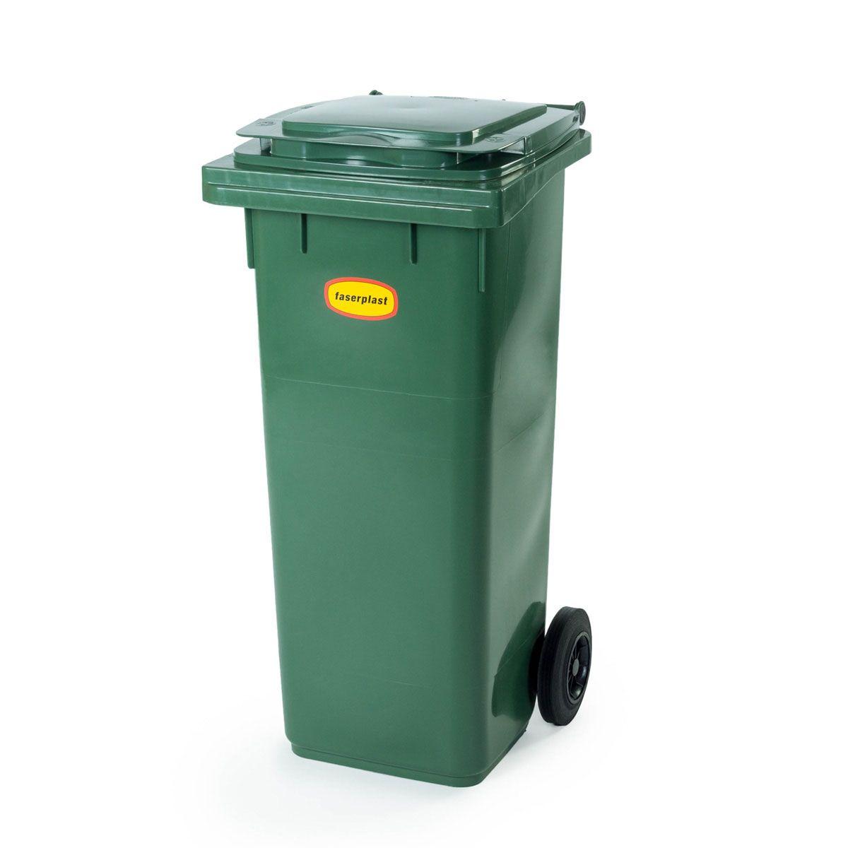 Rollabfallbehälter, aus PE-HD, grün, 140 l, 490 x 555 x 1100 mm