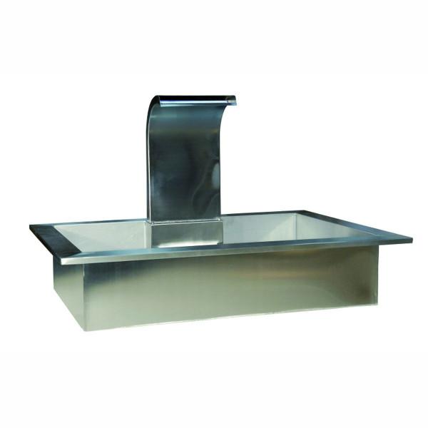 Wasserspiel Square, aus Edelstahl, hellgrau glänzend, 120x80x25/75 cm, 20 kg