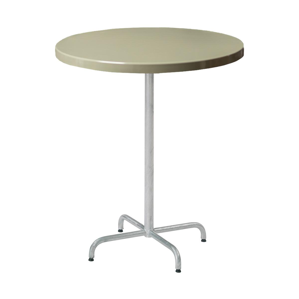 GFK Tisch grün, glanz, Untergestell galvanisch, 4-Stern Retro, D 70 x 3.5 cm, H 109 cm