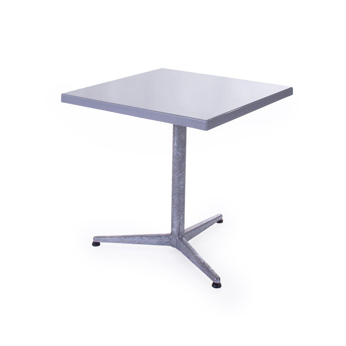 GFK Tisch silber, glanz, Untergestell feuerverzinkt 3-Stern Basic, 70 x 70 x 3.5 cm, H 73 cm