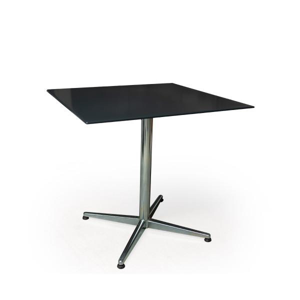 GFK Tisch anthrazit, glanz, Untergestell galvanisch, 4-Stern Basic, 80 x 80 x 0.9 cm, H 73 cm