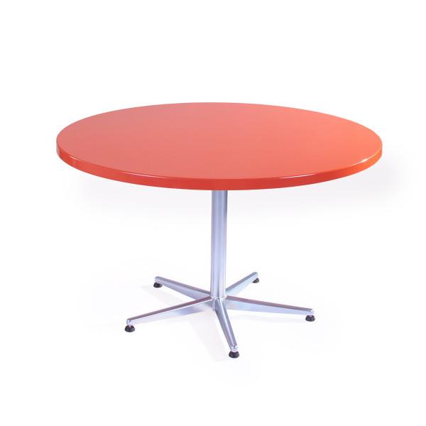 GFK Tisch verkehrsrot, glanz, Untergestell galvanisch, 5-Stern Basic, D 120 x 3.5 cm, H 73 cm