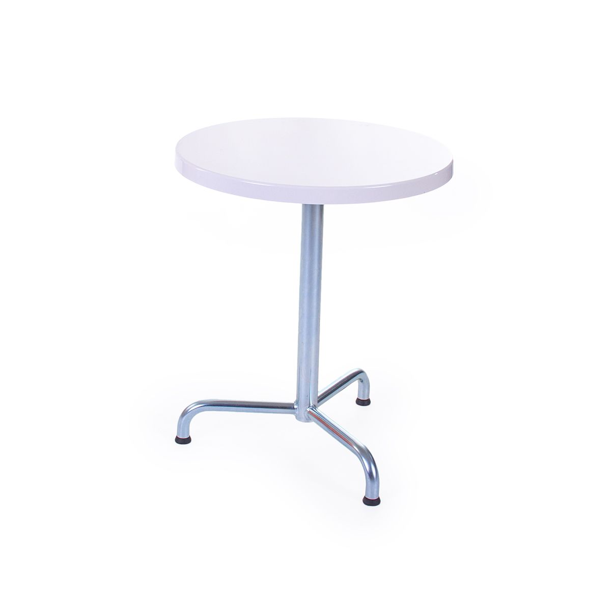 GFK Tisch weiss, glanz, Untergestell galvanisch, 3-Stern Retro, D 60 x 3.5 cm, H 73 cm