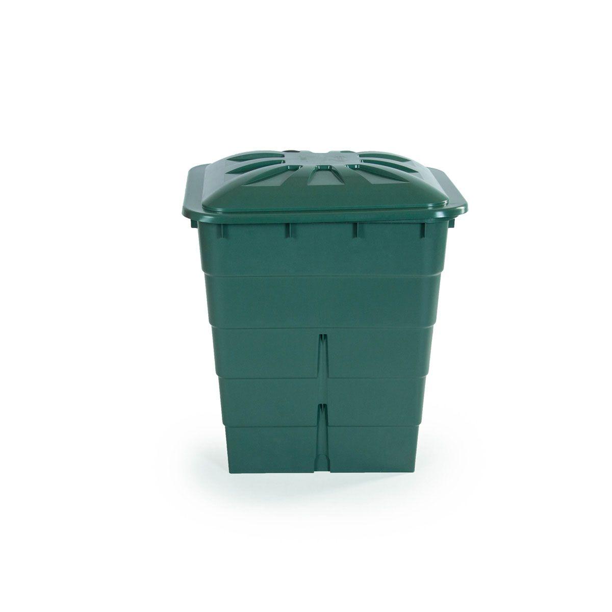 Regentonne eckig, aus PP, grün, 300 l, 660 x 800 x 920 mm