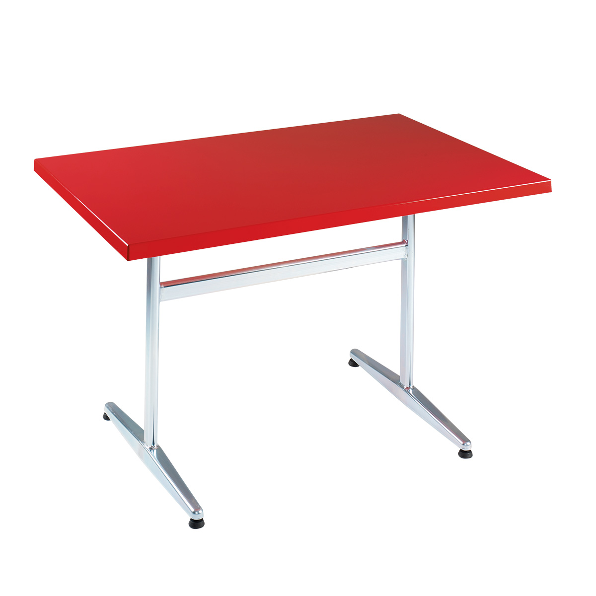 Table PRV rouge trafic, brillante, Piétement électrozingué en T Basic, 120 x 70 x 3.5 cm, H 73 cm