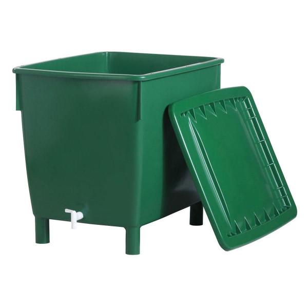 Regentonne, aus PP, grün, eckig, 200 l, 810 x 630 x 690 mm