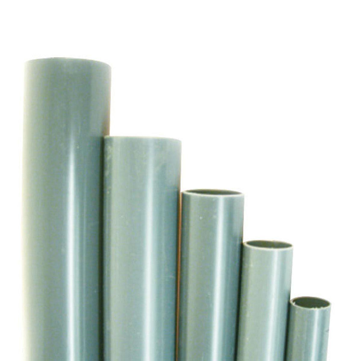 Rohr, aus PVC, grau, L 2 m, D 20 x 1.5 mm, PN 16