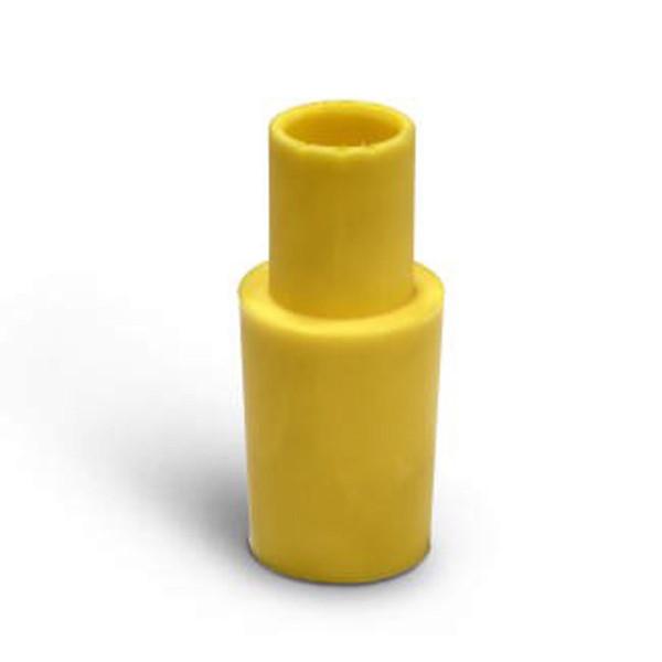 Lufteinflutstutzen, zu 38 mm Schlauch, aus Gummi, gelb,