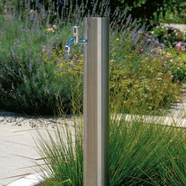 Wasserzapfsäule Edelstahl, aus Inox, 100 x 100 x 900 mm