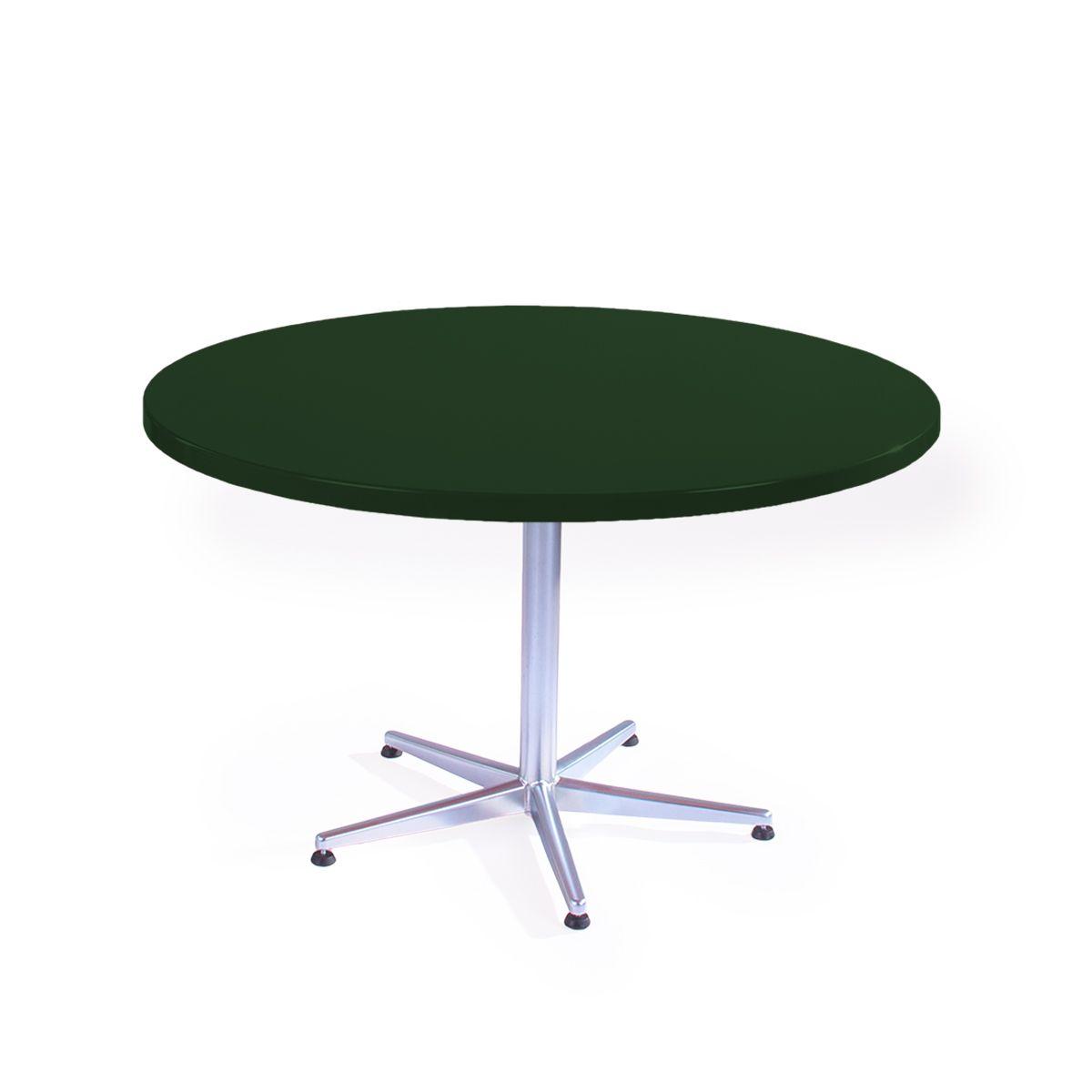 GFK Tisch tannengrün, glanz, Untergestell galvanisch, 5-Stern Basic, D 120 x 3.5 cm, H 73 cm