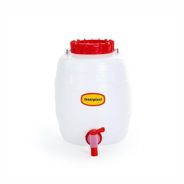 Getränkefass FP mit Auslaufhahn, aus PE-HD, weiss-rot, 15 l, 273 x 375 mm