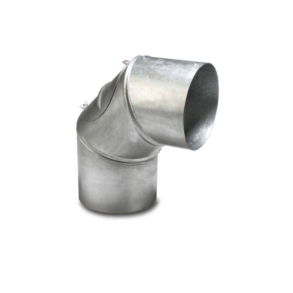 90° Bogen zu Abgasrohr, Stahlblech verzinkt, D 120 mm, 90°