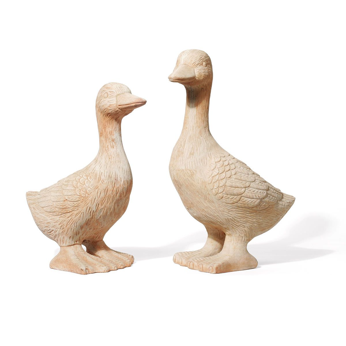 Couple de canards, en terre cuite, marron, 300 x 190/200 x 420/460 mm, 15 kg