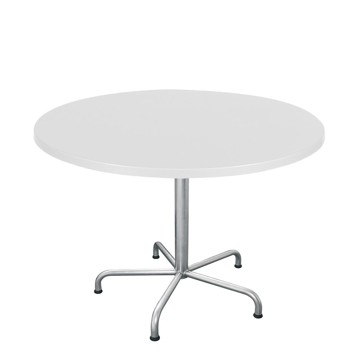 Table PRV blanc, brillant, Piétement électrozingué, 5-étoile Retro, D 100 x 3.5 cm, H 73 cm