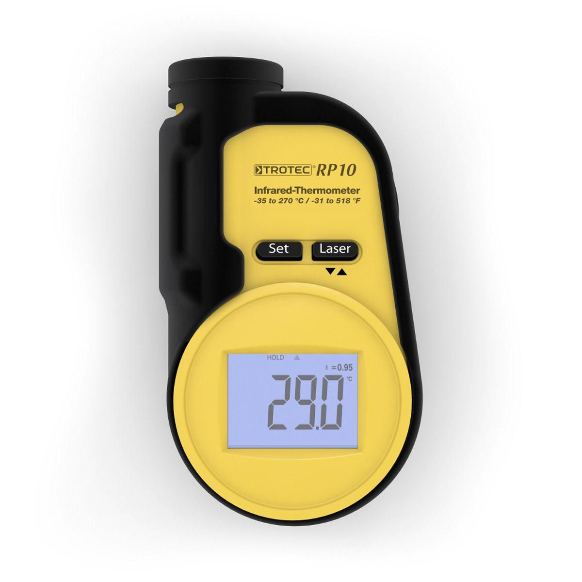 Thermomètre infrarouge, RP10, noir, 53 x 97 x 25 mm