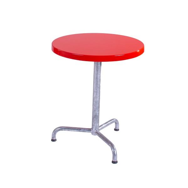 GFK Tisch verkehrsrot, glanz, Untergestell feuerverzinkt 3-Stern Retro, D 60 x 3.5 cm, H 73 cm