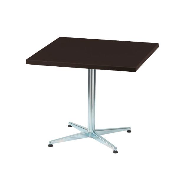 GFK Tisch graubraun, glanz, Untergestell galvanisch, 4-Stern Basic, 80 x 80 x 3.5 cm, H 73 cm