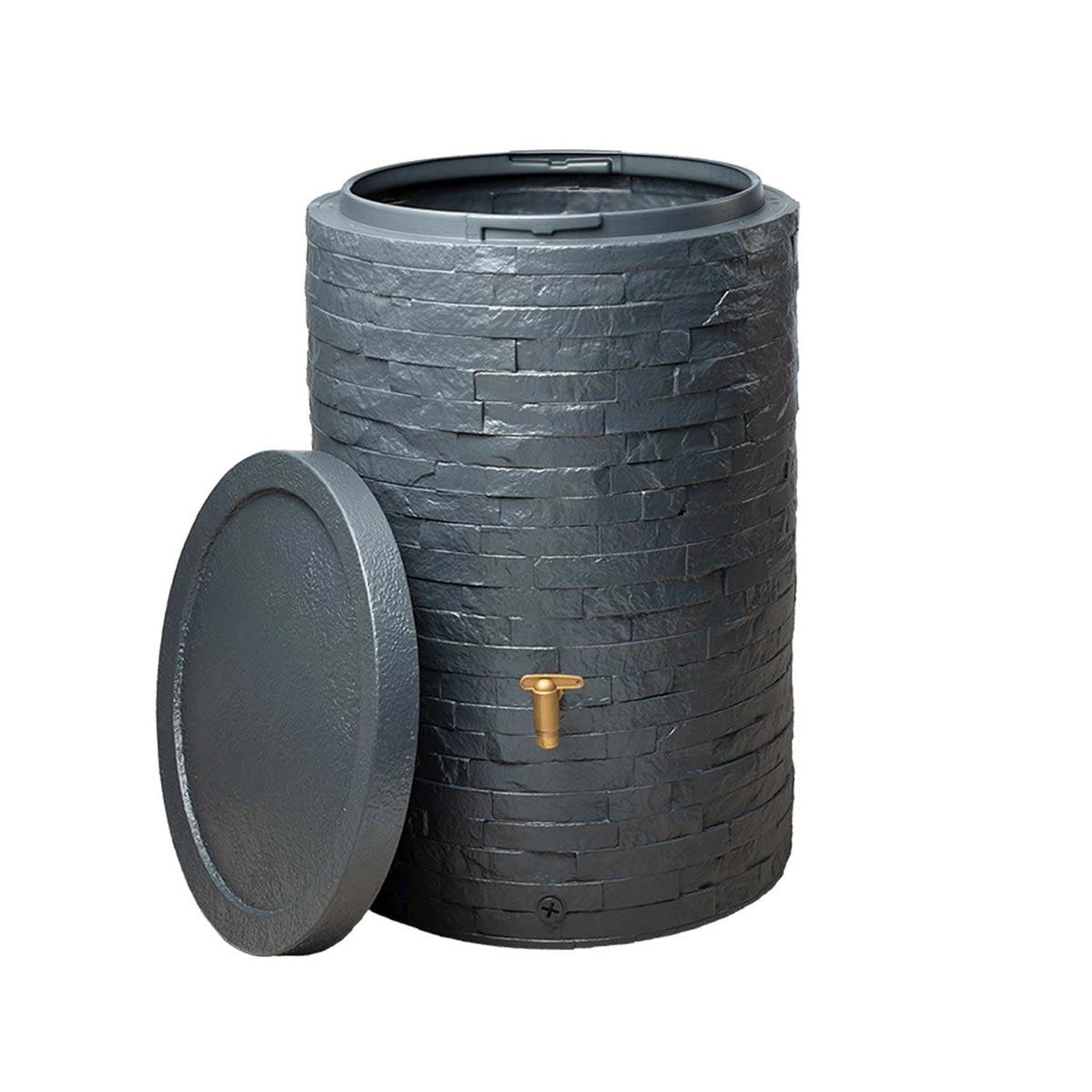 Regenspeicher Arondo, aus PE-HD, graphite grey, 250 l, 600 x 600 x 930 mm