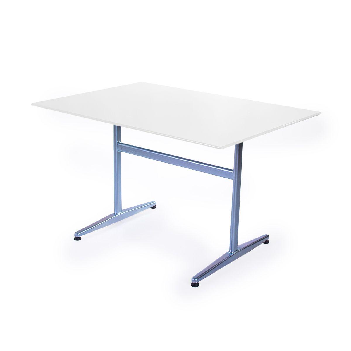 GFK Tisch reinweiss, glanz, elegance, Untergestell galvanisch, T-Gestell Basic, 140 x 80 x 0.9 cm, H 73 cm