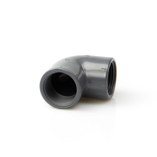 Winkel 90° mit Gewinde, aus PVC, grau, 3/8' IG, PN 16