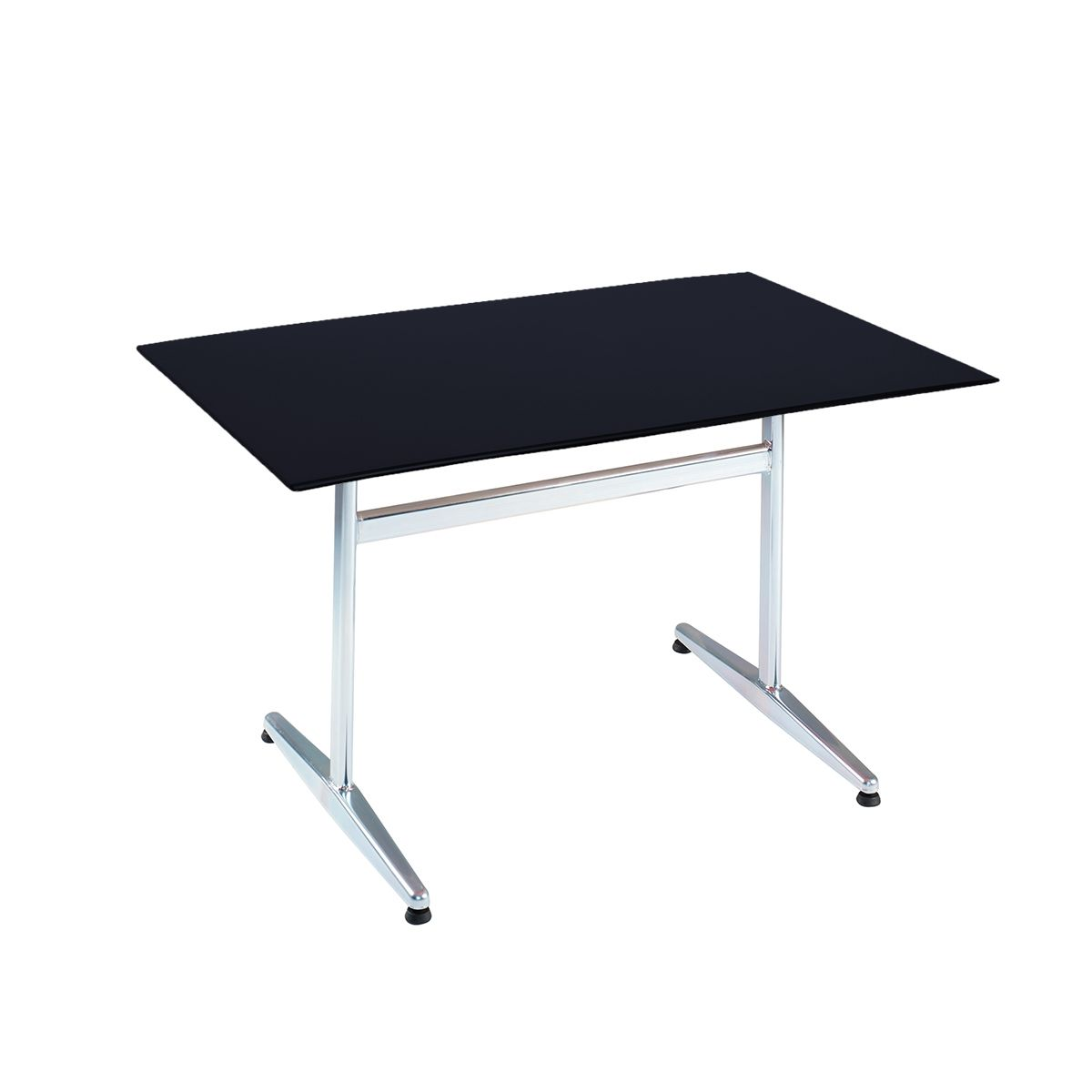 Table PRV anthracite, brillante, Piétement électrozingué en T Basic, 120 x 80 x 0.9 cm, H 73 cm