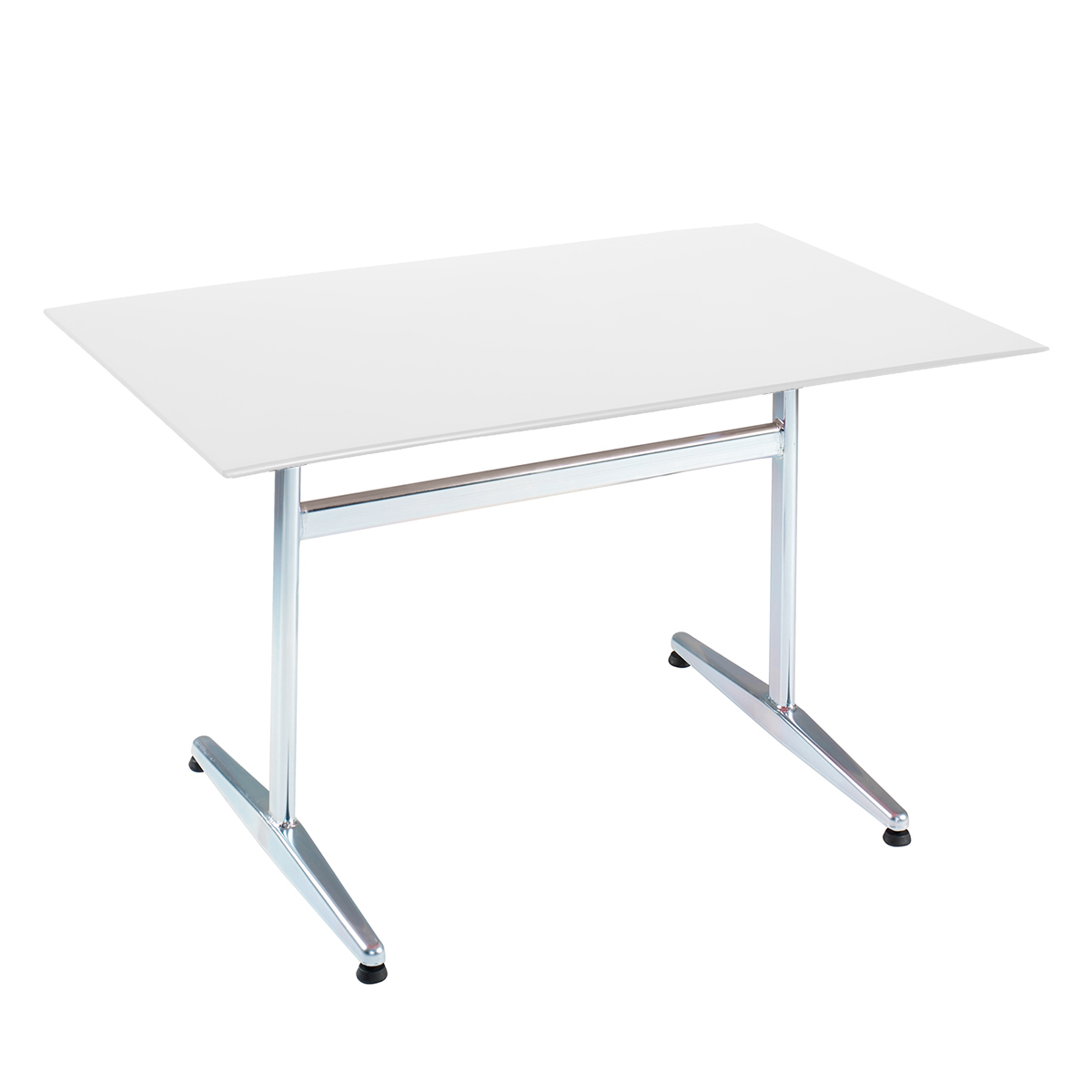 GFK Tisch weiss, glanz, elegance, Untergestell galvanisch, T-Gestell Basic, 140 x 80 x 0.9 cm, H 73 cm