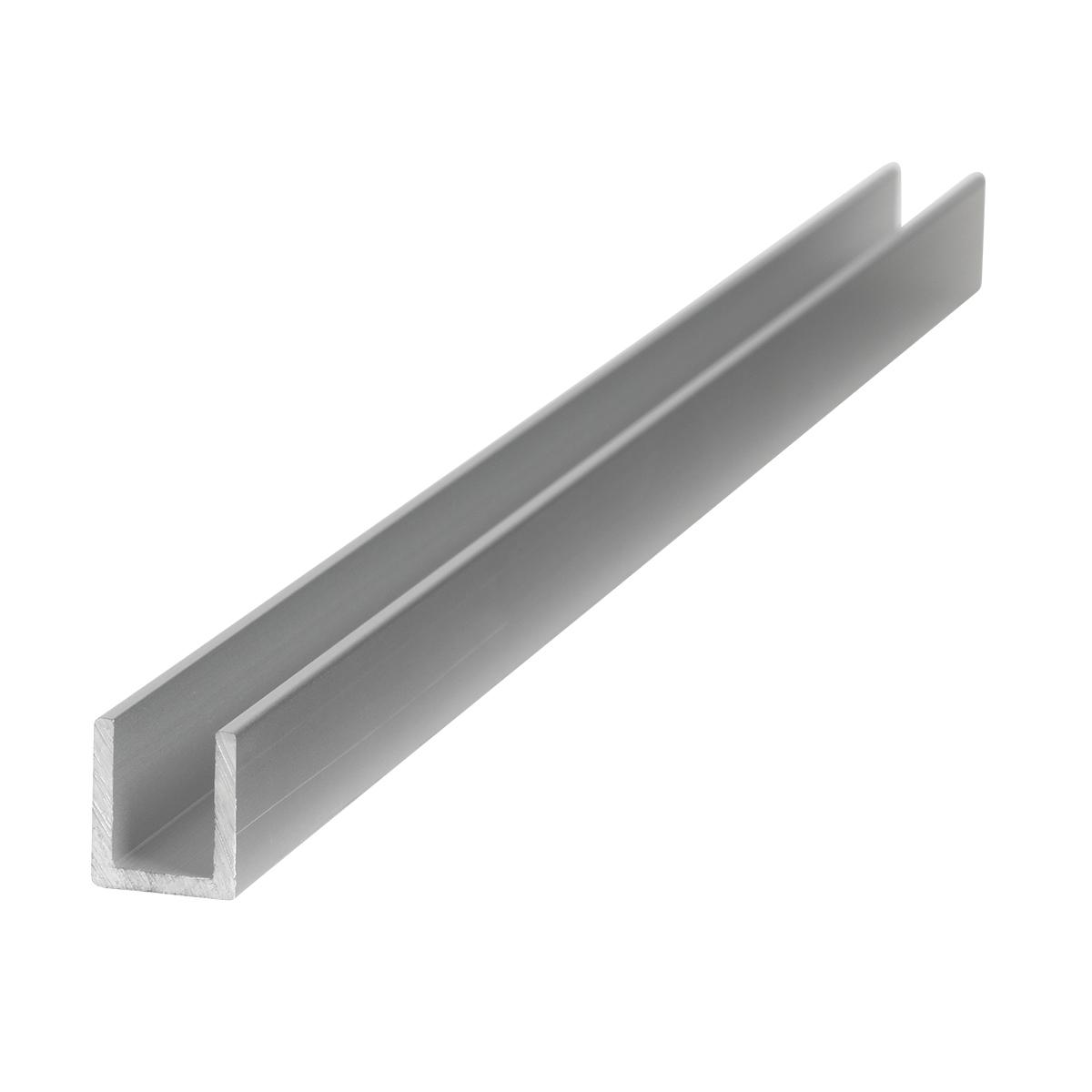 U-Profil zu 10 mm, aus Alu eloxiert, farblos, L 6 m, 14 x 16 x 2.0 x 10 mm