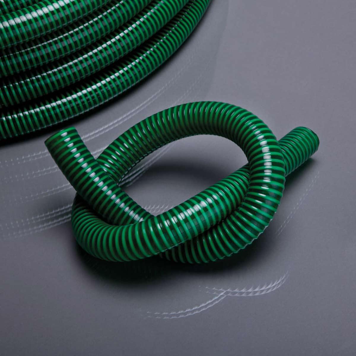 Saug-/Druckschlauch Zuschnitt, aus PVC, grün transparent, L 50 m, d 19 mm, D 23.8 mm
