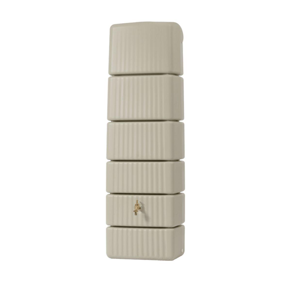 Wandtank Slim, aus PE-HD, sandbeige, 300 l, 580 x 370 x 1820 mm