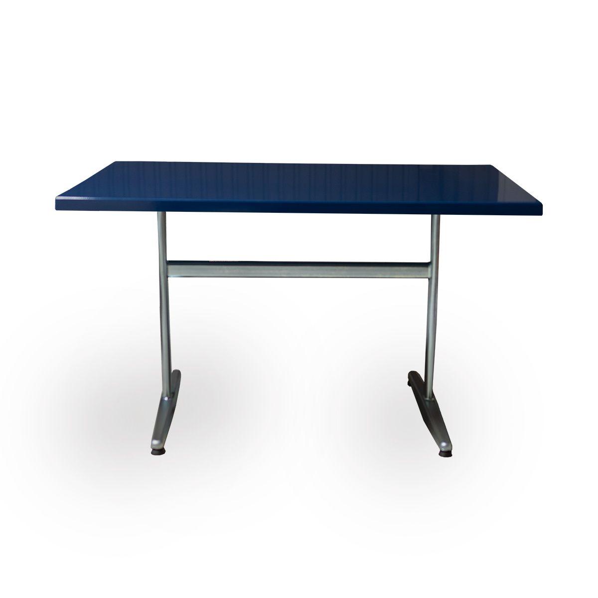 GFK Tisch saphirblau, glanz, Untergestell galvanisch, T-Gestell Basic, 120 x 80 x 3.5 cm, H 73 cm