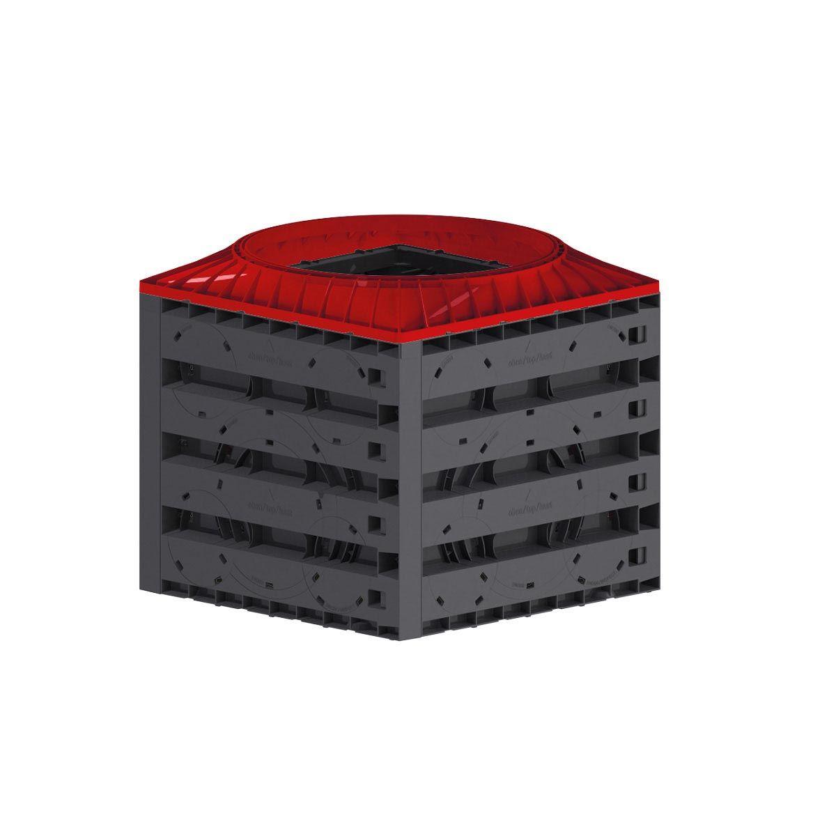 Système de puits Vario 800, en PE, noir, 800 x 800 x 760 mm, 1.0