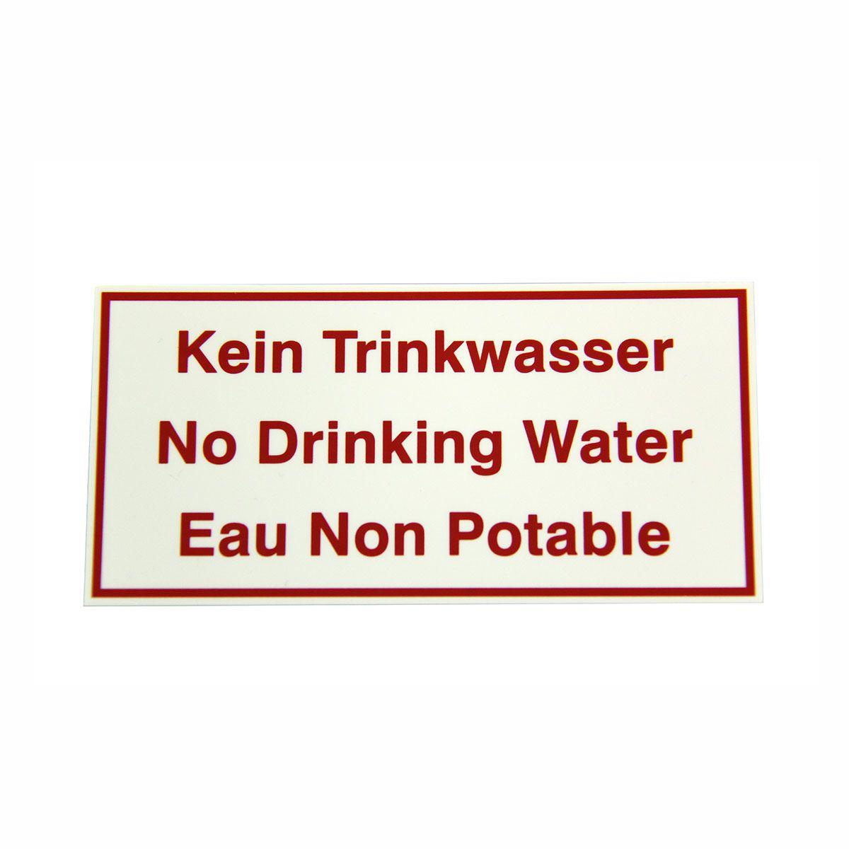 Lagerschild, kein Trinkwasser,