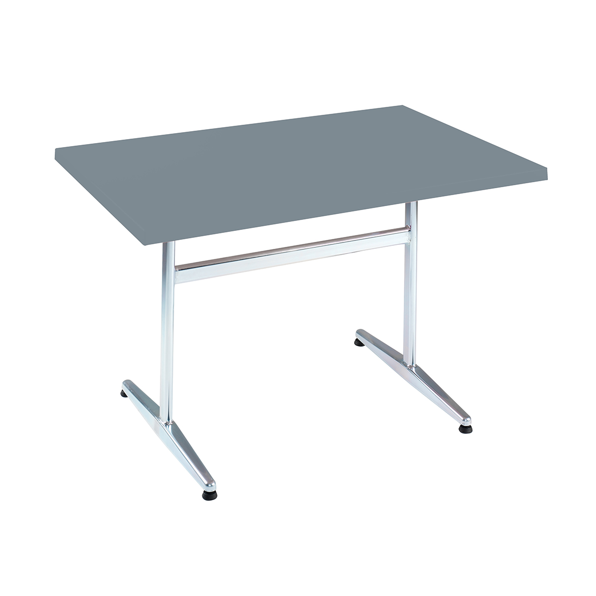 Table PRV gris, brillante, Piétement électrozingué en T Basic, 120 x 70 x 3.5 cm, H 73 cm