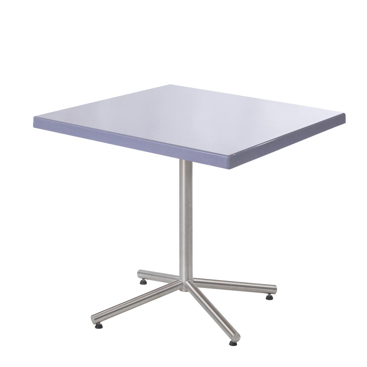 GFK Tisch silber, glanz, Untergestell galvanisch, 4-Stern Noble, 80 x 80 x 3.5 cm, H 73 cm