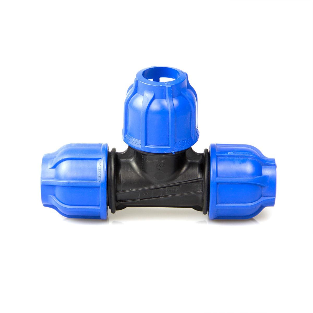 T-Stück, aus PP, blau-schwarz, d 20 mm, PN 16