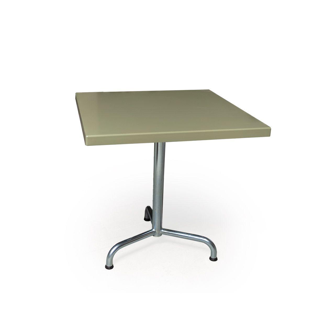 GFK Tisch grün, glanz, Untergestell galvanisch, 3-Stern Retro, 70 x 70 x 3.5 cm, H 73 cm