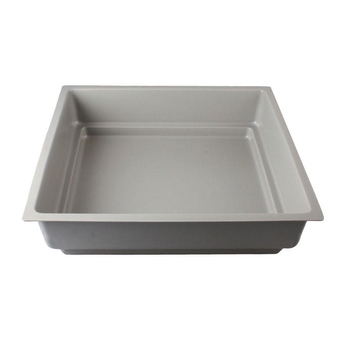 Bac plat, en PS, gris, 595 x 565 x 130 mm